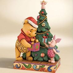 Disney Traditions Pooh and Piglet at Christmas Tree Figurine by Jim Shore, 4008066 available at Flossie's Gifts and Collectibles Disney Pixar, Deco Disney, Baby Disney, Winnie The Pooh Christmas, Winnie The Pooh Friends, Disney Christmas, Christmas Tree, Christmas Scenes, Figurine Disney