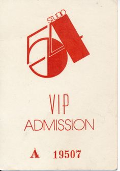 Original Studio 54 VIP Admission Pass (1977)