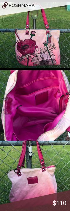 Coach Poppy Tote gently used Gorgeous coach tote different shades of pink. comes with 3 coach tags. A few spots as shown in pictures that just need some shout Coach Bags Totes