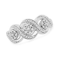1/3 CT. T.W. Composite Diamond Three Stone Swirl Band in 10K White Gold - Zales