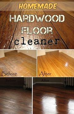 Homemade hardwood floor cleanerIngredients: 1/2 cup vinegar, 1 tablespoon castile soap, 1/4 cup rubbing alcohol, 2 cups warm water, essential oil (optional), plastic spray bottle.