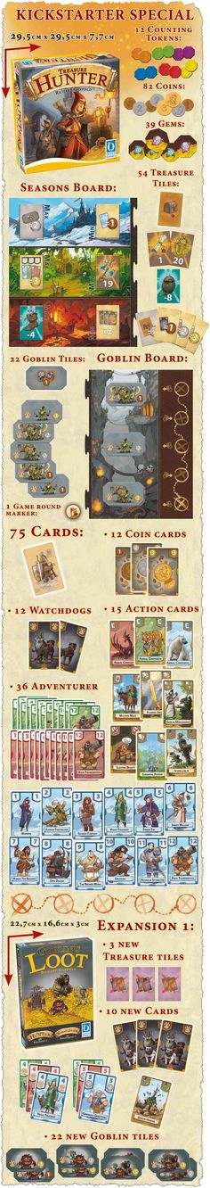 Treasure Hunter by Queen Games — Kickstarter.  Adventure, Goblins and Fortune are waiting in this new Card Drafting Game from Richard Garfield for families and gamers alike.