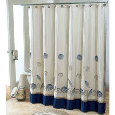 http://www.bebarang.com/unique-long-shower-curtains/ Unique Long Shower Curtains : Ideas Bathroom Astounding White Blue Seashells Pattern Extra Long Shower Curtain Design In White Bathroom Desi...