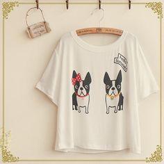 Short-Sleeve Dog Print T-Shirt ($13) ❤ liked on Polyvore