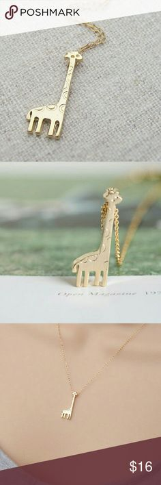 Gold plated giraffe necklace $10 on each necklace, choose which color,  bundle deal: pick any additional jewelry on my list for just $5 more, let me know so I can set up a bundle of $15! Jewelry Necklaces