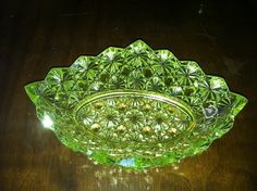 Vintage Vaseline Glass Depression Glass Daisy by Bittersweets13, $16.00... I need a ring/jewelry dish that actually matches the bedroom