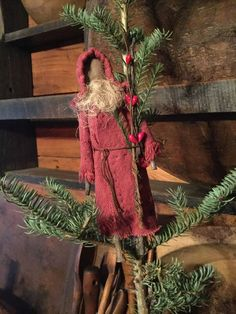 Primitive Folk Art Little Christmas Red Feedsack Santa Claus Ornament #NaivePrimitive