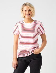 8c26670a5f5 Women s Riviera Striped T-Shirt - White   Red