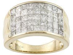 2.50ctw Princess Cut Diamond 10k Yellow Gold Band $1199.99