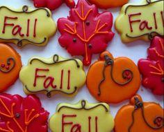 Fall Cookies Repinned By: #TheCookieCutterCompany Thanksgiving Baking, Thanksgiving Cookies, Fall Cookies, Thanksgiving Crafts, Cookie Designs, Candy Corn, Fall Halloween, Cookie Decorating, Sugar Cookies