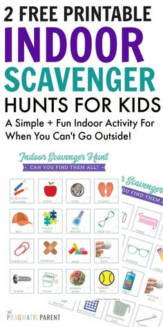 FREE 2-Page Indoor Scavenger Hunt PDF Printable for Kids. Grab this FREE Indoor Scavenger Hunt PDF printable list for kids to use when you can't go outside or simply looking for something fun to… More