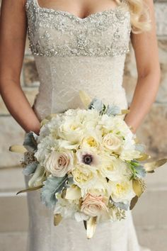 Fabulous Wedding Ideas! / Cream and Blush Bouquet With Dusty Miller | photograph...