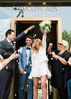 Is This The Most Chic Civil Wedding Ever? Opt for a wedding style that's more casual and modern with this short wedding dress inspiration. Pair it with a stunning bridal bouquet to truly round out the entire look. Cute Wedding Ideas, Wedding Pics, Wedding Bells, Wedding Styles, Dream Wedding, Wedding Inspiration, Wedding Themes, Diy Wedding, Wedding Venues