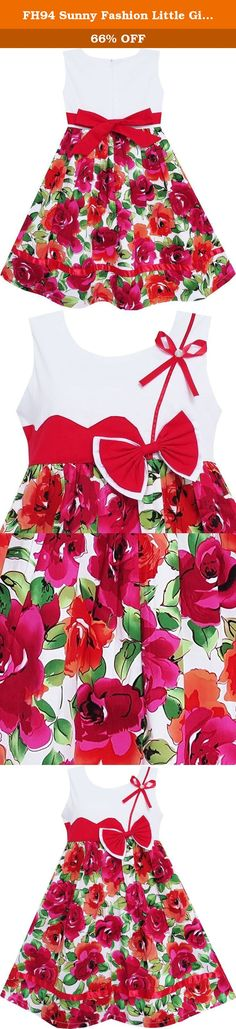 FH94 Sunny Fashion Little Girls' Dress Cute Bow Tie Floral Party Holiday Kids 6. 100% cotton. Machine washable. Knee length. Made in China. Following size means age ranges for girls, They are for general guidance only. For most accurate fit, we recommend checking detailed measurement before purchase. .