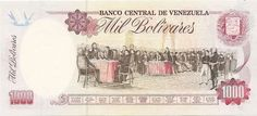 (Reverso). Billete del Banco Central de Venezuela. 1000 Bolívares.Billete tipo specimen sin fecha