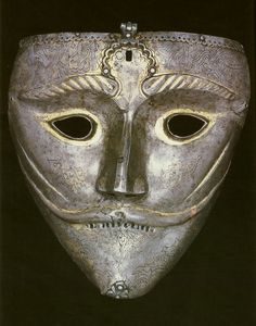 Persian war mask, this mask would have been attached to a helmet by a hinge at the top of the mask, 15th century