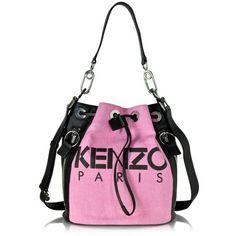 Kenzo Handbags Pink Kenzo Kanvas Bucket Bag featuring polyvore, women's fashion, bags, handbags, shoulder bags, pink leather handbag, shoulder handbags, leather purse, leather bucket bag and hand bags