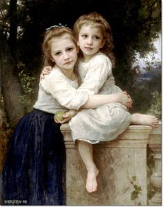 Deux Soeurs [Two Sisters], one of the most famous paintings by William-Adolphe Bouguereau. Deux Soeurs [Two Sisters], one of the most famous paintings by William-Adolphe Bouguereau. William Adolphe Bouguereau, Two Sisters, Little Sisters, Sisters Art, Hans Holbein, Disney Paintings, Georges Seurat, Pinturas Disney, Frank Stella