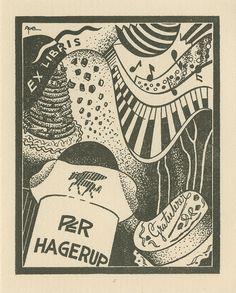 Ex libris, Per Hagerup Ekslibriset til Per Hagerup. Motiv: Fest med kaker, pianospel og notar. Laga av Arne Hoel. Ca. 1940-åra. © Copyright: Denne illustrasjonen er beskyttet iht. Lov om opphavsrett til åndsverk av 1961. Utover privat bruk er gjengivelse/reproduksjon av vernede illustrasjoner ikke tillatt uten etter avtale med rettighetshaver v/BONO. Kontakt BONO (Billedkunst Opphavsrett i Norge) for rettighetsklarering: www.bono.no Henvisningen til norsk lov innebærer at utlegning av verk…