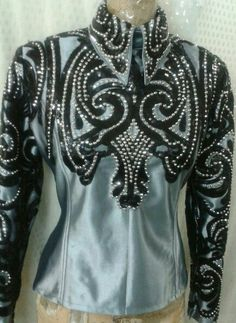 Show Diva Designs black and grey horsemanship top
