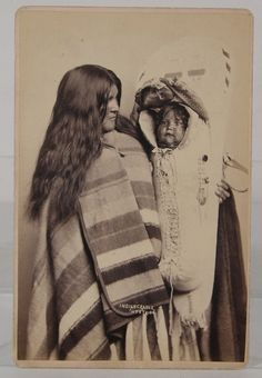 """Very rare and wonderful, original, ca1889 Western Americana / Native American Ute Indian Cabinet Card Photograph of the wife and child of Ute Chief Wooly Head by the acclaimed Mormon Photographer Charles R. Savage of Salt Lake City, Utah and identified as being from the photographer's Series of Views titled """"Views of the Great West"""". 
