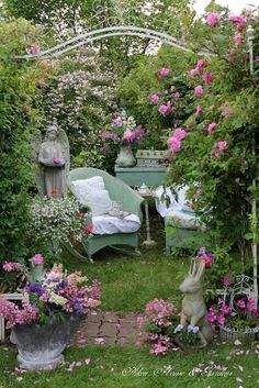 This garden is Paradise on Earth. I can imagine the peace I would feel curled up with a great book or a needlework project in this dreamy outdoor retreat.