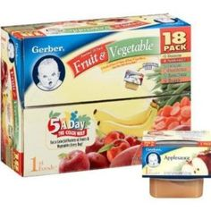 Gerber 1st Foods Assorted Fruits and Vegetables 18 Pack, 2.5oz Tubs --- http://www.amazon.com/Gerber-Foods-Assorted-Fruits-Vegetables/dp/B001QX2IH8/?tag=pinterest1061-20