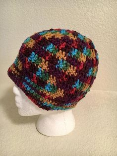 b984ddc30 Messy Bun Hat Turquoise Brown Gold Green Red Crocheted Very FREE SHIPPING  Adult Teen Man Woman READY To Ship Puzzle Looking Blue