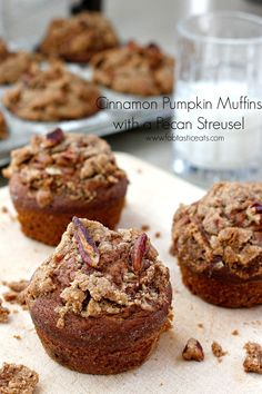These Pumpkin Spice Muffins topped with a Pecan Streusel are the epitome of a perfect Fall breakfast or snack..you're going...
