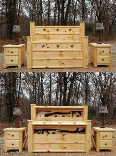 """Bed and Nightstands with Secret Gun Compartments We found this """"high capacity"""" wooden bed and nightstand set Rough Country Rustic Furniture. Rustic Bedroom Furniture, Country Furniture, Flip Furniture, Cedar Furniture, Furniture Decor, Gun Concealment Furniture, Hidden Gun Cabinets, Hidden Gun Storage, Secret Storage"""