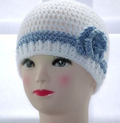 Crochet hat with a rose. / Caciulita crosetata cu trandafir. http://myworld.ebay.co.uk/seraph_boutique