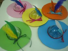 Καπέλο από το καπάκι ποτηριού μιας χρήσης για φραπέ, χαρτόνι, κορδέλες, φτερά και γκοφρέ για να φαίνεται χρωματιστό το καπάκι