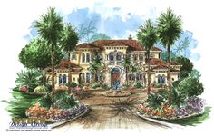The Tuscany House Plan is a 5-bedroom elegant Tuscan estate home with an old-world feel. The large mahogany double doors open to a grand foyer with an elegant circular stairway. Just past the foyer of this floor plan is a colonnade and a large rotunda living room with a double sided wet bar, fireplace and a panoramic glass wall with French doors. Towards the master bedroom side is a large library, with built in bookshelves. This side of this house design also has an exercise room with a…