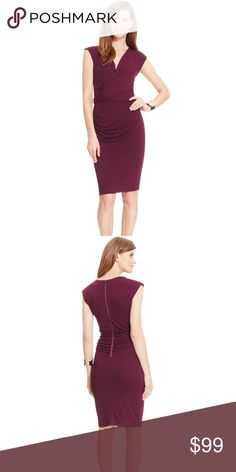 Super cute merlot color dress Look amazing in these Robert Rodriguez Women's Purple Cowl-neck Sheath Dress. Dress is made of super stretch material you can dress up or down. Material is 100% Polyester with lining. Robert Rodriguez Dresses Midi