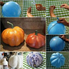 Making pumpkins with balloons and liquid Gesso