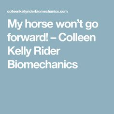 My horse won't go forward! – Colleen Kelly Rider Biomechanics