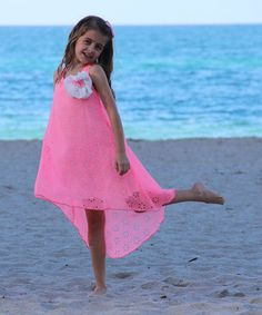 Love this Pink Floral Cutout Hi-Low Dress - Girls by Mia Belle Baby on #zulily! #zulilyfinds