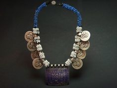 Kuchi old enamelled silver and coins necklace. - berbería