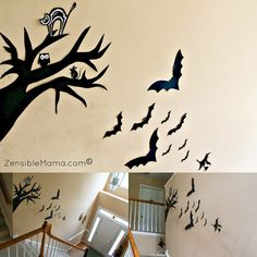 Bats and a Witch headed for the trees!  Other adorable Halloween decorations from this blogger!