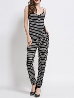 Shop Black White Striped Cami Top With Pants online. SheIn offers Black White Striped Cami Top With Pants & more to fit your fashionable needs.