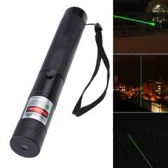 Powerful Green Laser Pointer Pen With Star Cap+18650 Battery+Charger Black SS