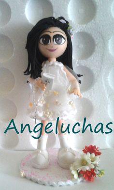 Fofuchas angeluchas: Muñecas fofuchas artesanales y originales: Niña de comunión. Marina.