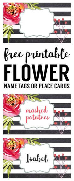 Flower Place Card Holder or Food Labels Free Printable. Great DIY name tags or food tags for birthday parties, baby shower, bridal shower, wedding, spring party, or garden party.