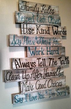 House rules sign family rules sign wood signs wood signs sayings wall signs home rules pallet signs wood signs home Wood Pallet Projects family Home House Pallet rules sayings sign Signs wall Wood Arte Pallet, Pallet Art, Diy Pallet Projects, Pallet Wall Decor, Pallet Walls, At Home Projects, Projects With Wood, Barn Wood Decor, Pallet Shelves