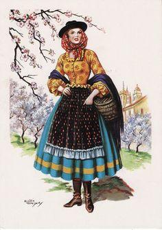 Trajo Tipico ( traditional costume) Portuguese Empire, Portuguese Culture, Algarve, Vintage Posters, Vintage Photos, Folk Costume, Costumes, European Dress, Folk Dance