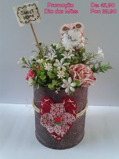 Peso de Porta Sweet Home Tin Can Alley, Decoupage, Diy And Crafts, Planter Pots, Favors, Recycling, Sweet Home, Projects To Try, Flowers