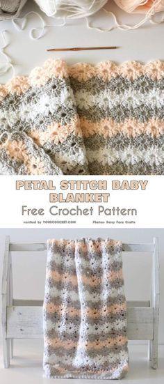 Petal Stitch Baby Blanket Free Crochet Pattern #crochetbabyblanket #freecrochetpatterns #babyblanket #crochetblanket #babyshowerideas