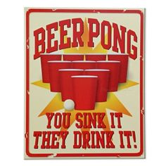 Beer Pong Vintage Tin Sign, from HomeWetBar.com
