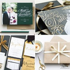 Engraved confetti wedding invitations, gold foil save the date cards, and custom holiday cards designed by Sincerely, Jackie