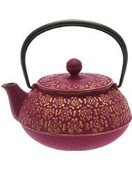 Iwachu Japanese Iron Tetsubin Teapot, Cherry Blossoms, Gold and Purple. ONLY 8 LEFT IN STOCK (Aug, 2016) 22 ounce capacity Cast iron construction keeps tea warm for a long time Coated interior to prevent rust Removable stainless steel mesh infuser Made in Japan